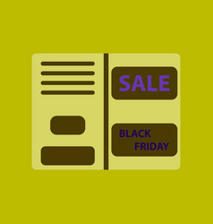 Flat icon of sale booklet vector