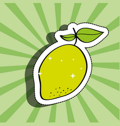 fresh lemon delicious fruit drawing sticker image vector image