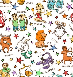 Funny Seamless Pattern of Zodiac Signs vector