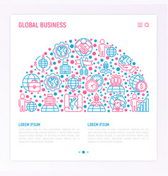 Global business concept in half circle vector