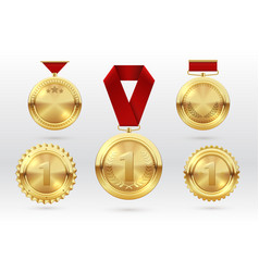 gold medal number 1 golden medals with red award vector image