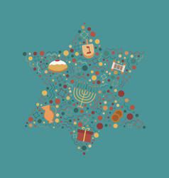 hanukkah holiday flat design icons set in star of vector image