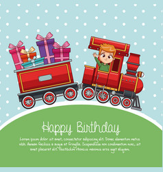 happy birthday train cartoon vector image