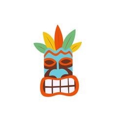 hawaiian tiki mask colorful icon flat cartoon vector image