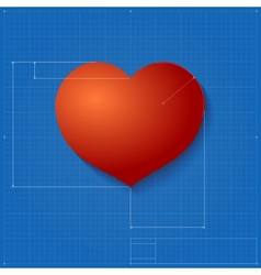 Heart symbol like blueprint drawing vector