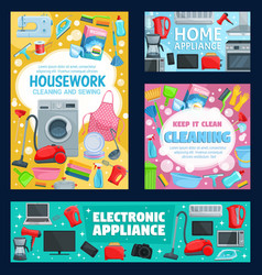 Home appliance cleaning washing sewing vector
