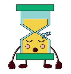 Hourglass sleeping kawaii icon ima vector