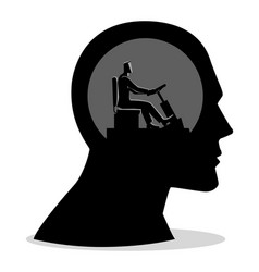 Human head being controlled a businessman vector