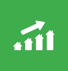 Icon concept of house graph moving up on green vector
