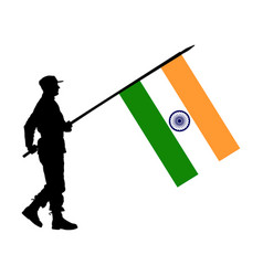 India soldier with india flag silhouette isolated vector