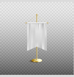 isolated white pennant flag on golden stand vector image