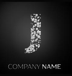 letter j logo silver dots alphabet logotype vector image