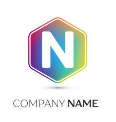 letter n logo symbol in the colorful hexagonal on vector image