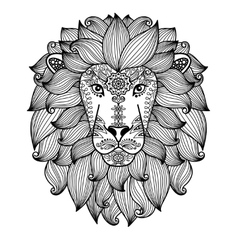 Lion head with ethnic floral pattern vector image