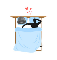 Lover fitness sport man and barbell in bed lovers vector