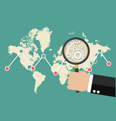 Magnifying glass scan stock market graph vector