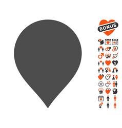 Map marker icon with valentine bonus vector