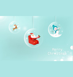 Merry christmas glossy ball hanging decoration vector