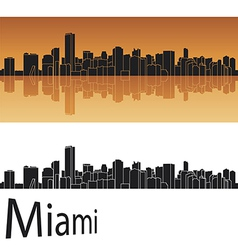 Miami skyline in orange background vector