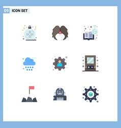 Modern set 9 flat colors pictograph vector