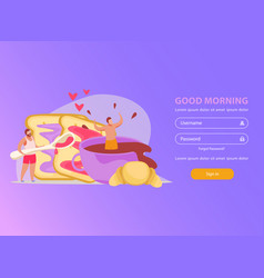 Morning people login page vector
