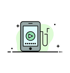 Music mobile cell education business flat line vector