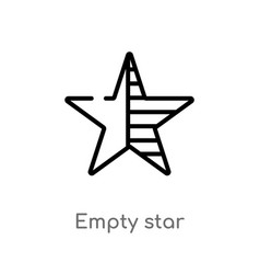 Outline empty star icon isolated black simple vector