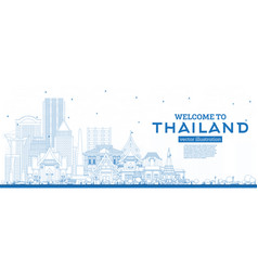 Outline welcome to thailand city skyline with vector