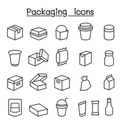package icon set in thin line style vector image