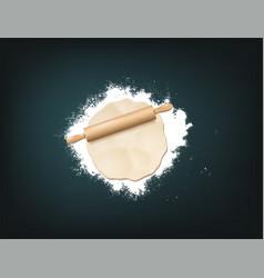 pin dough flour vector image