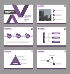 Purple presentation infographic templates layout vector