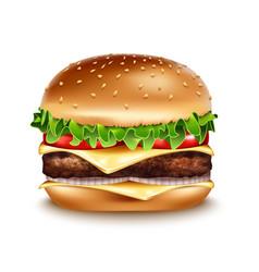 realistic hamburger icon classic burger vector image