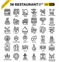 Restaurant food business pixel perfect outline vector