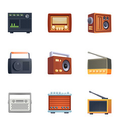 Retro radio icons set cartoon style vector
