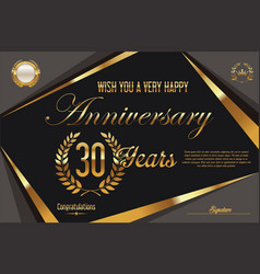 retro vintage anniversary background 30 years vector image
