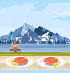 salmon food norway national cuisine and mountains vector image