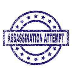 Scratched textured assassination attempt stamp vector