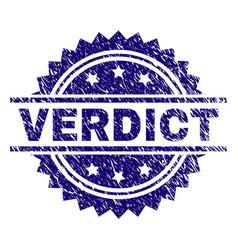 scratched textured verdict stamp seal vector image