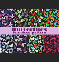 seamless patterns with butterflies set vector image