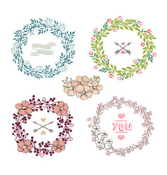 set colorful wreath vector image