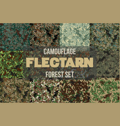 Set of forest flectarn camouflage seamless pattern vector