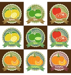 Set of fresh fruit and vegetable badge sticker tag vector