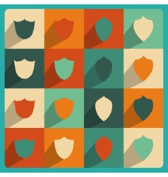 set of vintage flat shields vector image