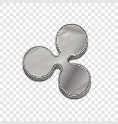 Silver ripple coin trendy 3d style icon vector