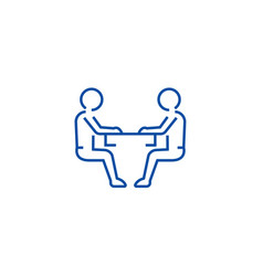 sitting men conversation line icon concept vector image