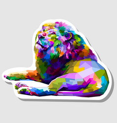 sticker colorful lion lying down facing up vector image