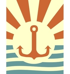 sun rays backdrop with anchor icon vector image