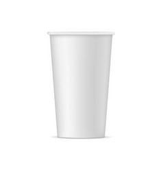 tall disposable paper cup mock up - front view vector image