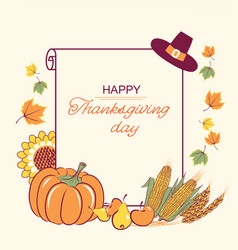 thanksgiving background with seasonal decoration vector image