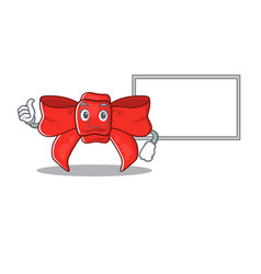 Thumbs up with board red ribbon bow on cartoon vector
